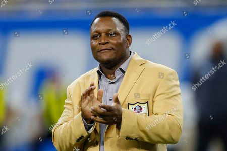 Stock Picture of Former Detroit Lions running back Barry Sanders, a member of the NFL Hall of Fame, appears during an NFL football game in Detroit, . The Lions named 39 players to its all-time team