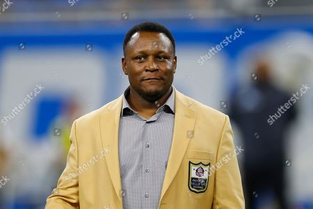 Stock Photo of Former Detroit Lions running back Barry Sanders, a member of the NFL Hall of Fame, appears during an NFL football game in Detroit, . The Lions named 39 players to its all-time team