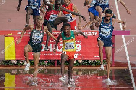 Matthew Hughes (Canada), Getnet Wale (Ethiopia), Djijali Bedrani (France), during the 2019 IAAF World Athletics Championships at Khalifa International Stadium, Doha