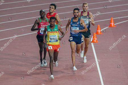 Matthew Hughes (Canada), Leonard Kipkemoi Bett (Kenya), Getnet Wale (Ethiopia), Djijali Bedrani (France), Fernando Carro (Spain), 3000 Metres Steeplechase Men Round 1, Heat 1, during the 2019 IAAF World Athletics Championships at Khalifa International Stadium, Doha