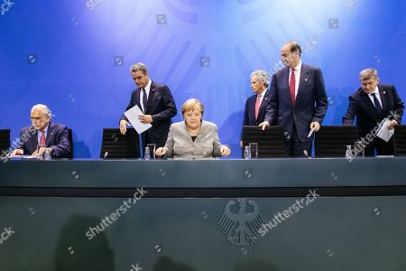 (L-R) Secretary-General of the Organization for Economic Co-operation and Development (OECD) Angel Gurria, Director general of the World Trade Organization (WTO) Roberto Azevedo, German Chancellor Angela Merkel, Managing Director of the International Monetary Fund (IMF) David Lipton, President of the World Bank David Malpass and Director-General of the International Labour Organization (ILO) Guy Ryder attend a press conference at the German chancellery in Berlin, Germany, 01 October 2019. German Chancellor Merkel had a conversation with the chairmen of international economic and financial organizations.