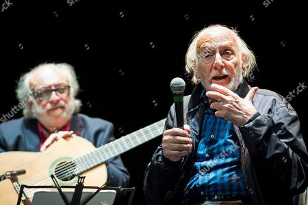 Spanish-Argentine actor and director Hector Alterio (R) and guitarist Jose Luis Merlin (L) attend a press preview of 'Como hace 3000 anos' (lit.: Like 3000 years ago) at the Teatros del Canal in Madrid, Spain, 01 October 2019.