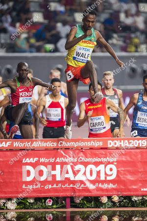 Getnet Wale of Ethiopia leads the pack during the Men's 3000m Steeplechase heats at the IAAF World Athletics Championships 2019 at the Khalifa Stadium in Doha, Qatar, 01 October 2019.