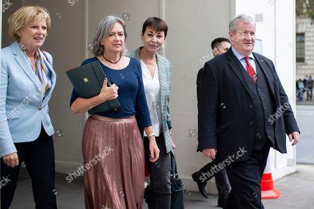 Leader of Change UK Anna Soubry, MP for Dwyfor and Meirionnydd Liz Saville-Roberts, Green Party Co-Leader Caroline Lucas and SNP Leader Ian Blackford arrive at Portcullis House ahead of a meeting of opposition parties.
