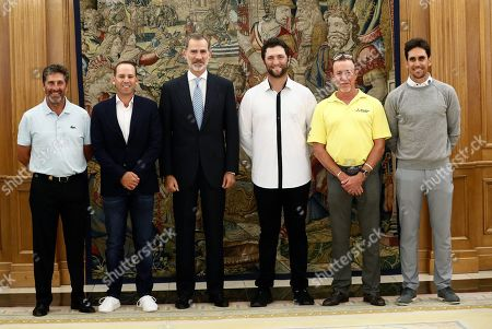 King Felipe VI (3-L) poses for a photo with the Spanish golfers (L-R) Jose Maria Olazabal, Sergio Garcia, Jon Rahm, Miguel Angel Jimenez and Rafa Cabrera-Bello during an audience held at Palacio de Zarzuela in Madrid, Spain, 01 October 2019. The golfers will participate on the Mutuactivos Open golf tournament, which runs from 03 to 06 October.
