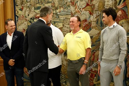 Spanish King Felipe VI (2-L) shakes hands with Spanish golfer Miguel Angel Jimenez (2-R) next to golfers Sergio Garcia (L), Jon Rahm (unseen) and Rafa Cabrera-Bello (R) during an audience held at Palacio de Zarzuela in Madrid, Spain, 01 October 2019. The golfers will participate on the Mutuactivos Open golf tournament, which runs from 03 to 06 October.