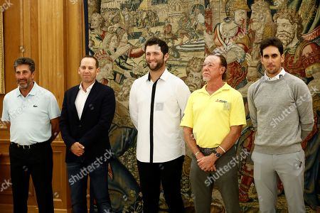 (L-R) Spanish golfers Jose Maria Olazabal, Sergio Garcia, Jon Rahm, Miguel Angel Jimenez and Rafa Cabrera-Bello pose for a photo during an audience held at Palacio de Zarzuela in Madrid, Spain, 01 October 2019. The golfers will participate on the Mutuactivos Open golf tournament, which runs from 03 to 06 October.