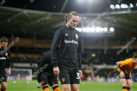 Jackson Irvine of Hull City warming up before the EFL Sky Bet Championship match between Hull City and Sheffield Wednesday at the KCOM Stadium, Kingston upon Hull