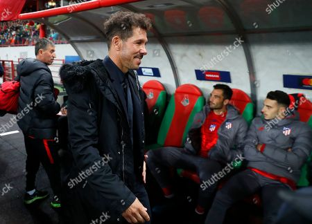 Atletico Madrid's head coach Diego Simeone ahead of the Champions League Group D soccer match between Lokomotiv Moscow and Atletico Madrid at the Lokomotiv Stadium in Moscow, Russia