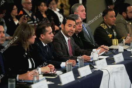 Stock Image of Guatemala's President Jimmy Morales speaks during the event of transition at the National Palace of Culture, in Guatemala City, Guatemala, 01 October 2019. Guatemala's President Jimmy Morales and the President elect Alejadro Giammattei began the Government transition, looking for a orderly, safe, and transparent process.