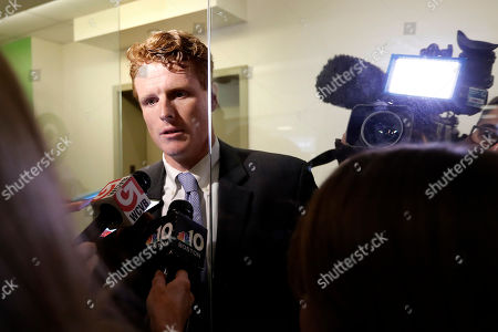 Stock Photo of U.S. Rep. Joseph Kennedy III, D-Mass., speaks with reporters after participating in a roundtable discussion, in Boston, on the impact of a cap on refugee admissions to the U.S. for fiscal 2020. Massachusetts refugee resettlement agencies are urging the Trump administration to raise the admissions cap it has proposed decreasing to historically low levels
