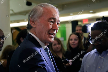 U.S. Sen. Edward Markey, D-Mass., speaks with reporters after participating in a roundtable discussion, in Boston, on the impact of a cap on refugee admissions to the U.S. for fiscal 2020. Massachusetts refugee resettlement agencies are urging the Trump administration to raise the admissions cap it has proposed decreasing to historically low levels