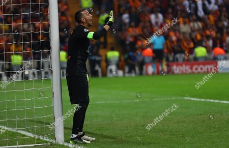 Galatasaray's goalkeeper Fernando Muslera reacts during the UEFA Champions League group A soccer match between Galatasaray and Paris Saint Germain in Istanbul, Turkey 01 October 2019.