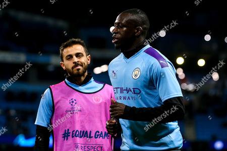 Benjamin Mendy of Manchester City and Bernardo Silva of Manchester City