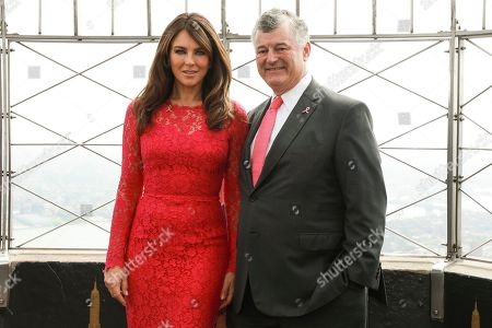 Elizabeth Hurley, William P. Lauder. Actress Elizabeth Hurley and William P. Lauder participate in the lighting of the Empire State Building in honor of The Estée Lauder Companies' 2019 Breast Cancer Campaign, in New York