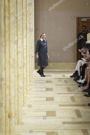 Miuccia Prada on the catwalk