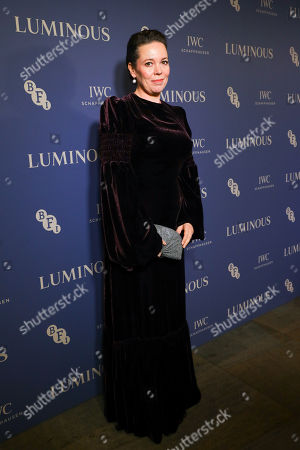 Olivia Colman arrives at Luminous BFI Fundraising Gala at the Roundhouse in London, Britain, 01 October 2019. The event aims to raise funds for the BFI's educational work to ensure young people from all backgrounds have the chance to access training and resources, and to open up opportunities to work in the film industry.