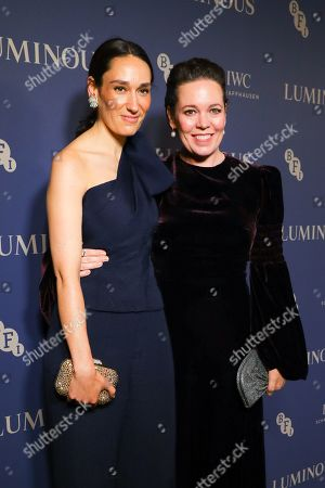 Olivia Colman (R) and Sian Clifford (L) arrive at Luminous BFI Fundraising Gala at the Roundhouse in London, Britain, 01 October 2019. The event aims to raise funds for the BFI's educational work to ensure young people from all backgrounds have the chance to access training and resources, and to open up opportunities to work in the film industry.