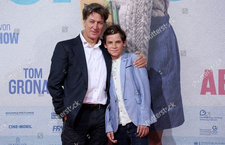 Stock Picture of Tobias Moretti (L) and Levi Eisenblaetter attend the premiere of 'Deutschstunde' (The German Lesson) at the Lichtburg Cinema in Essen, Germany, 01 October 2019.