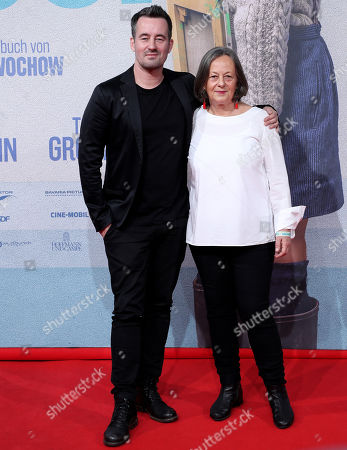 Stock Image of Christian Schwochow (L) with his mother and scriptwriter Heide Schwochow attend the premiere of 'Deutschstunde' (The German Lesson) at the Lichtburg Cinema in Essen, Germany, 01 October 2019.