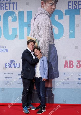 Stock Image of Tobias Moretti (L) and Levi Eisenblaetter attend the premiere of 'Deutschstunde' (The German Lesson) at the Lichtburg Cinema in Essen, Germany, 01 October 2019.