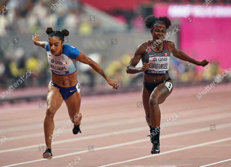 Crystal Emmanuel of Canada and Jodie Williams of United Kingdom competing in the 200 meter for women during the 17th IAAF World Athletics Championships at the Khalifa Stadium in Doha, Qatar