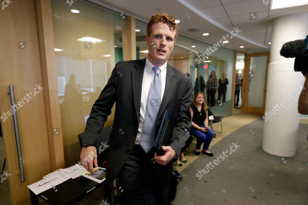 Stock Picture of U.S. Rep. Joseph Kennedy III, D-Mass., arrives at a roundtable discussion, in Boston, on the impact of a cap on refugee admissions to the U.S. for fiscal 2020. Massachusetts refugee resettlement agencies are urging the Trump administration to raise the admissions cap it has proposed decreasing to historically low levels