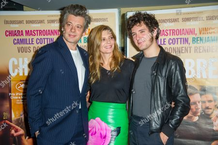 Stock Picture of Benjamin Biolay, Chiara Mastroianni and Vincent Lacoste