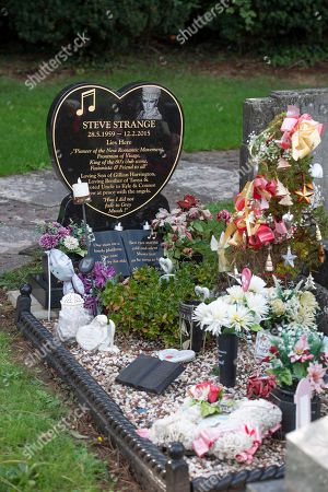 Stock Image of The grave of the late Visage singer Steve Strange at the Jubilee Gardens Cemetery