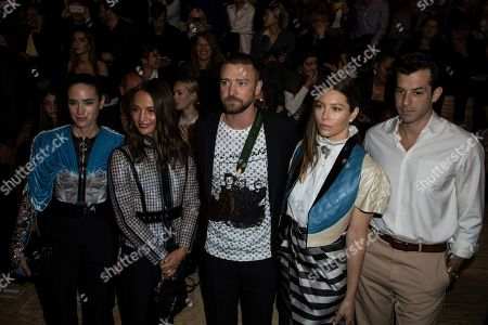 Jennifer Connelly, Alicia Vikander, Justin Timberlake, Jessica Biel, Mark Ronson. Actors Jennifer Connelly, from left, Alicia Vikander, Justin Timberlake, Jessica Biel and musician Mark Ronson pose for photographers as they attend the Vuitton Ready To Wear Spring-Summer 2020 collection, unveiled during the fashion week, in Paris