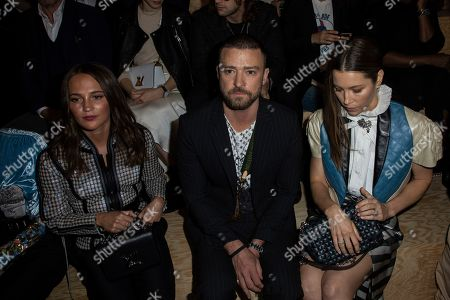 Alicia Vikander, Justin Timberlake, Jessica Biel. Actors Alicia Vikander, from left, Justin Timberlake and Jessica Biel attend the Vuitton Ready To Wear Spring-Summer 2020 collection, unveiled during the fashion week, in Paris
