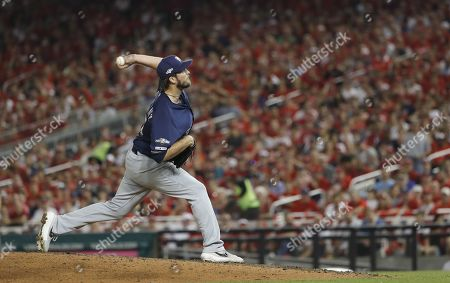 Milwaukee Brewers pitcher Drew Pomeranz throws against the Washington Nationals in the bottom of the seventh inning of their MLB National League Wild Card playoff baseball game at Nationals Park in Washington, DC, USA, 01 October 2019. The winner of the one game playoff will go on to face the Los Angeles Dodgers in the National League Division Series.