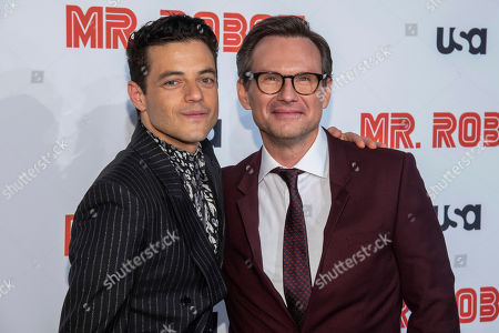 "Rami Malek, Christian Slater. Rami Malek, left, and Christian Slater attend USA Network's ""Mr. Robot"" season 4 premiere at the Village East Cinema, in New York"