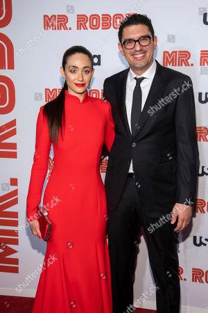 "Emmy Rossum, Sam Esmail. Emmy Rossum and Sam Esmail attend USA Network's ""Mr. Robot"" season 4 premiere at the Village East Cinema, in New York"