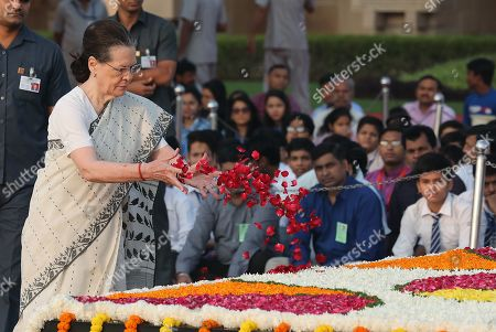 United Progressive Alliance (UPA) chairperson and Indian National Congress president Sonia Gandhi (L) pays tribute at Mahatma Gandhi's memorial at the Rajghat in New Delhi, India 02 October 2019. India commemorates the 150th birth anniversary of Mahatma Gandhi, amid hundreds of events taking place across the world to mark the event.
