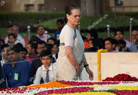 United Progressive Alliance (UPA) chairperson and Indian National Congress president Sonia Gandhi pays tribute at Mahatma Gandhi's memorial at the Rajghat in New Delhi, India 02 October 2019. India commemorates the 150th birth anniversary of Mahatma Gandhi, amid hundreds of events taking place across the world to mark the event.