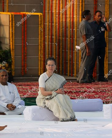 United Progressive Alliance (UPA) chairperson and Indian National Congress president Sonia Gandhi attends a prayer meeting as she pays tribute at Mahatma Gandhi's memorial at the Rajghat in New Delhi, India, 02 October 2019. India commemorates the 150th birth anniversary of Mahatma Gandhi, amid hundreds of events taking place across the world to mark the event.