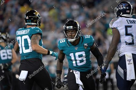 Stock Image of Jacksonville Jaguars wide receiver Chris Conley (18) reacts after catching a pass during the second half of an NFL football game against the Tennessee Titans, in Jacksonville, Fla
