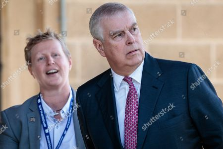Britain's Prince Andrew, Duke of York (R) is met by the provost of Murdoch University Professor Romy Lawson upon on his arrival at Murdoch University in Perth, Western Australia, Australia, 02 October 2019. According to reports, Prince Andrew is in Australia on a working visit.