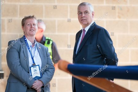 Stock Photo of Britain's Prince Andrew, Duke of York (R) is met by the provost of Murdoch University Professor Romy Lawson upon on his arrival at Murdoch University in Perth, Western Australia, Australia, 02 October 2019. According to reports, Prince Andrew is in Australia on a working visit.