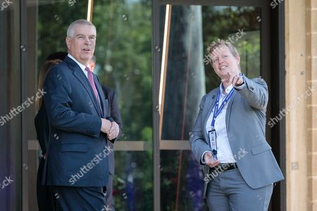 Britain's Prince Andrew, Duke of York (L) is met by the provost of Murdoch University Professor Romy Lawson (R) upon on his arrival at Murdoch University in Perth, Western Australia, Australia, 02 October 2019. According to reports, Prince Andrew is in Australia on a working visit.