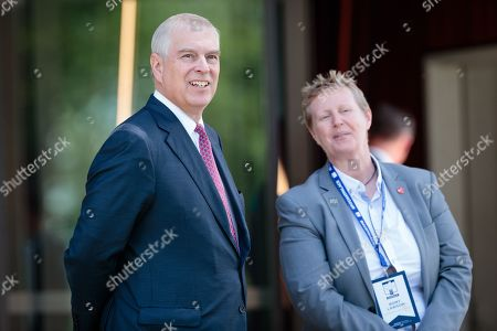 Britain's Prince Andrew, Duke of York (L) is met by the provost of Murdoch University Professor Romy Lawson upon on his arrival at Murdoch University in Perth, Western Australia, Australia, 02 October 2019. According to reports, Prince Andrew is in Australia on a working visit.