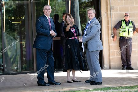 Stock Image of Britain's Prince Andrew, Duke of York (L) is met by the provost of Murdoch University Professor Romy Lawson upon on his arrival at Murdoch University in Perth, Western Australia, Australia, 02 October 2019. According to reports, Prince Andrew is in Australia on a working visit.