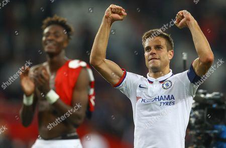 Cesar Azpilicueta of Chelsea celebrates at full time