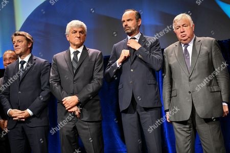 French prime minister Edouard Philippe with the President of the France's Mayors Organization Francois Baroin, Normandy Region and Association of Regions of France president Herve Morin and Senate president Gerard Larcher