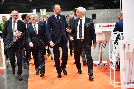 French prime minister Edouard Philippe with Normandy Region and Association of Regions of France president Herve Morin, President of Centre Val de Loire country, Francois Bonneau and Nouvelle Aquitaine president Alain Rousset