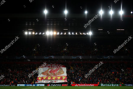 Liverpool fans with banners in the Sir Kenny Dalglish stand