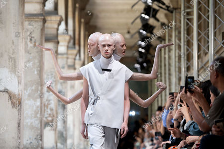 A model presents a creation from the Spring/Summer 2020 Men's collection by Japanese designer Masanori Morikawa for Christian Dada during the Paris Fashion Week, in Paris, France, 23 June 2019. The presentation of the Spring/Summer 2020 menswear collections ran from 18 to 23 June 2019.