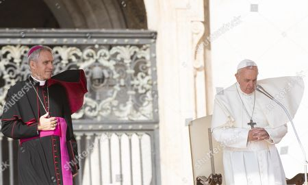 Pope Francis (R), next to archbishop Georg Gaenswein (L), prefect of the Papal Household, leads the Wednesday General Audience in Saint Peter's Square, at the Vatican, 02 October 2019.