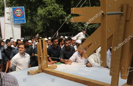 Indian National Congress (INC) Party member Rahul Gandhi(L) along with Congress Party supporters take part in a march to pay tribute to the Father of the Nation Mahatma Gandhi, in New Delhi, India, 02 October 2019. India commemorates Gandhi's 150th birth anniversary on 02 October 2019. Commemorative events are expected to take place worldwide.